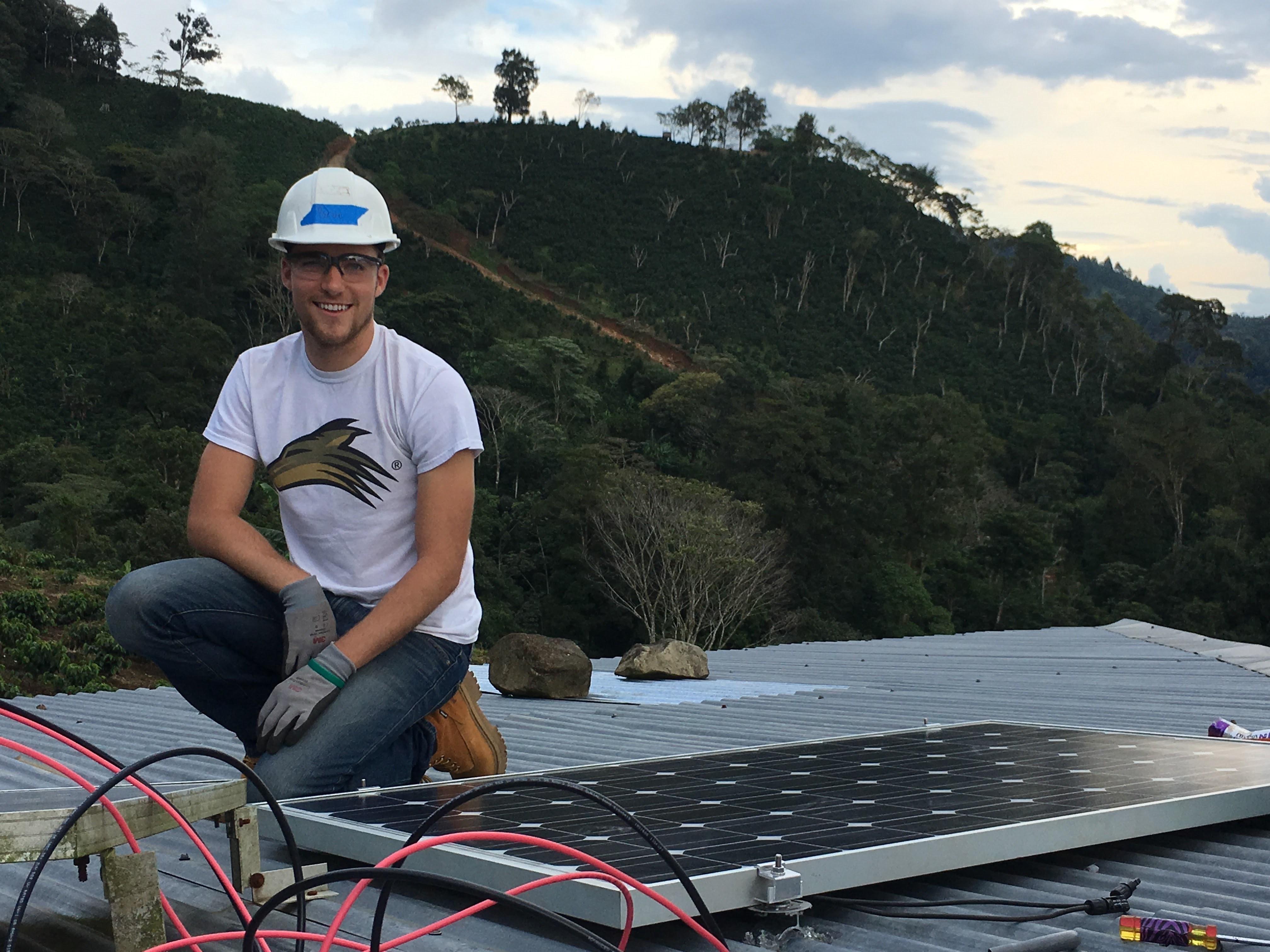 Brock installing home solar systems in Nicaragua.